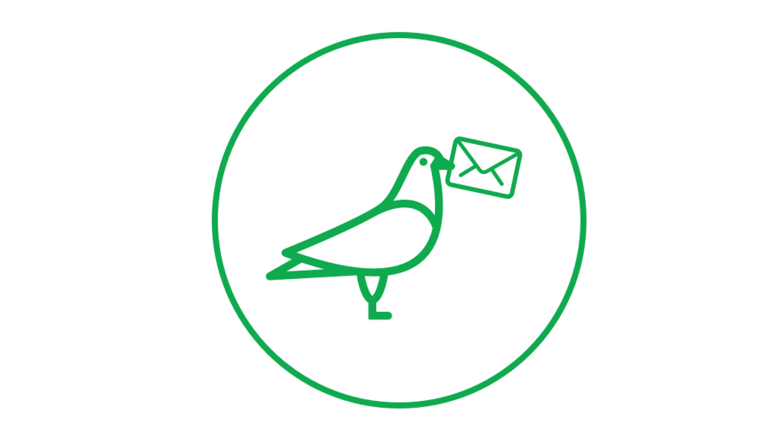 Bird holding envelope icon in green circle